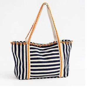 Paper Source l Navy Stripped Tote Bag